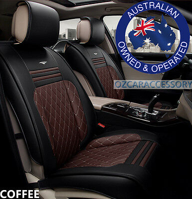 Coffee Universal Leather Car Seat Covers Full Set Toyota Camry Corolla RAV4 LDJ