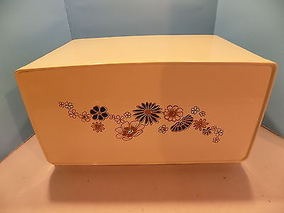 Vintage GSW Breadbox Flowered Design Off White Made in Canada