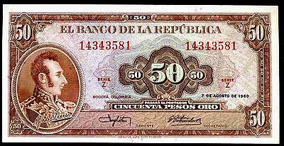Colombia. 50 Pesos, Z 14343581, 7-8-1960, Almost Uncirculated.
