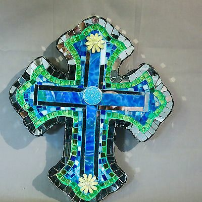 Artist's unique mosaic celtic cross wall hanging