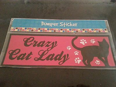 Crazy Cat Lady Bumper Sticker *NEW* Cat Lover CATS Paw Prints