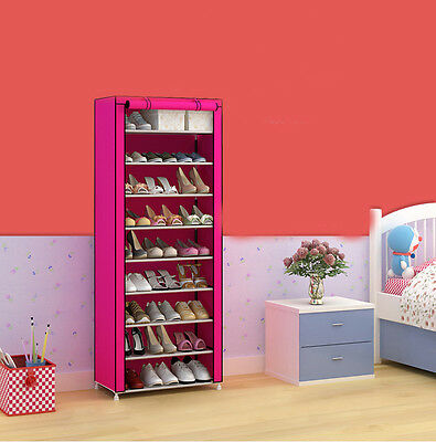 Rose Red Dust-Proof Non-Woven Steel Frame L60*W30*H160CM 9 Layers DIY Shoe Rack!