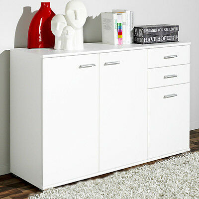 Wood Cabinet Sideboard Cupboard Buffet Solo High Gloss Chest 3 Doors 2 Drawers