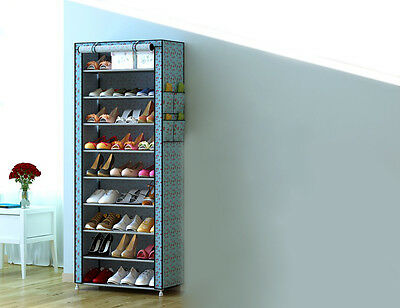 Sky Blue Dust-Proof Non-Woven Steel Frame L60*W30*H160CM 9 Layers DIY Shoe Rack!