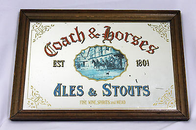 Vtg Coach & Horses Ale & Stout Fine Wine Spirits & Mead Mirrored Glass Bar Sign
