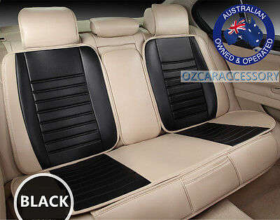 Black Universal Leather Car Seat Covers Full Set Holden Commodore Cruze YR