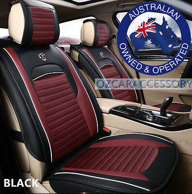 Black Universal Leather Car Seat Covers Full Set Holden Commodore Cruze PJX