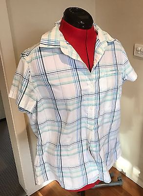 Women's Craghoppers Travel/Outdoor Shirt, Blue &White Check, Size UK 16