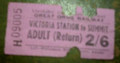 Vintage  Railway Ticket: Great Orme Railway - Victoria Station To The Summit