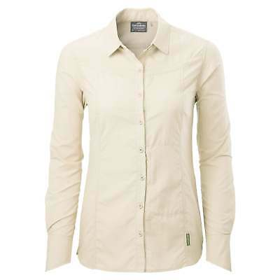 Kathmandu Kangsar Womens Long Sleeve Quick Dry buzzGUARD Travel Shirt v5 Beige