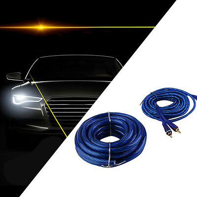 AMPLIFIER WIRING KIT 2500 W POWER CAR AMP 4 AWG GAUGE SUB VAN CABLE FUSE Blue