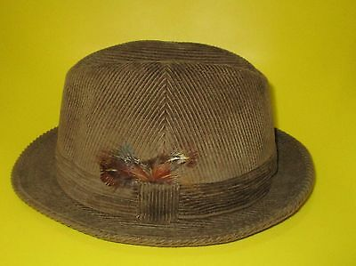 dunn & co cord trilby hat top condition 7 1/8 size pork pie