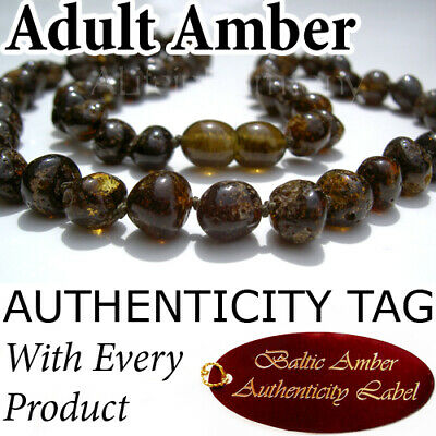 Rare FOREST GREEN Certified Baltic Amber ADULT NECKLACE