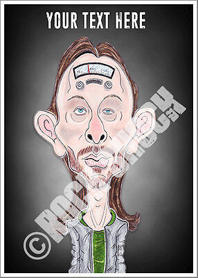 Radiohead Thom Yorke Caricature Personalised Text Greeting Card Rock Birthday