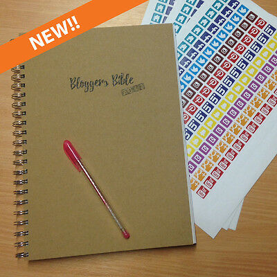 A4 Bloggers Bible 2017 - Blog Social Media Planner Diary 12 months plus stickers