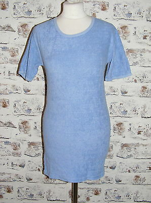 Size 12-14 vintage 70s shortsleeve skinny fit long t-shirt blue towelling (GT83)