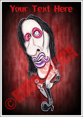 Marilyn Manson Caricature Custom Text Greeting Card Heavy Metal Antichrist