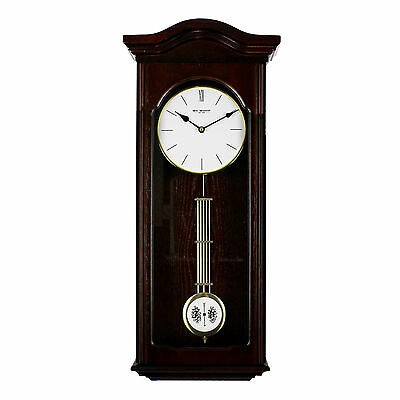 Vintage Style Dark Wood Pendulum Wall Clock with White Clockface Arched Top 60cm