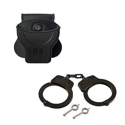 S&W Carbon Steel Chain Handcuffs (Model 100) w/ Handcuff Holster - Police Kit