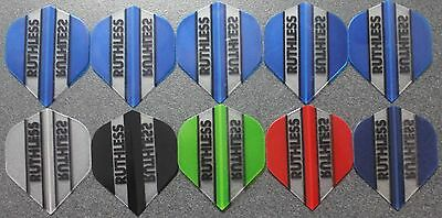10 Packets of Brand New Ruthless  Darts Flights - 'Essentials 6' pack.