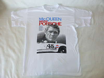 "Neues Herren T-Shirt ""Mc Queen Drives Porsche 1970"" Kult Gr. M Weiß NEU/OVP"