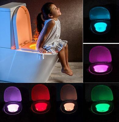Smart LED Human Motion Sensor Night Light With 8 Color Toilet Seat Lamp I5