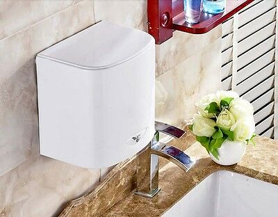 New White Mute Plastic Wall Mounted Automatic Induction Hand Dryer Machine #
