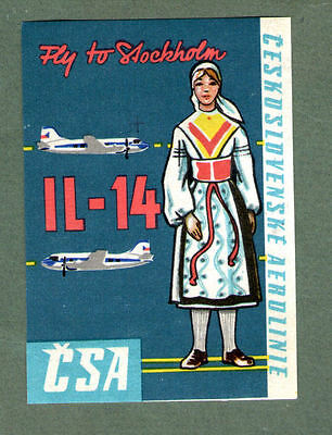 Airline luggage label Baggage Label CSA to Stockholm  #594