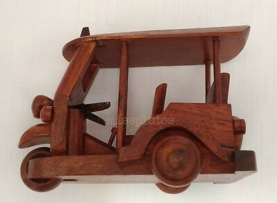 NEW  Handmade Wooden TAXI Thai Toy Car Model Handcraft Decorate Gift Souvenir
