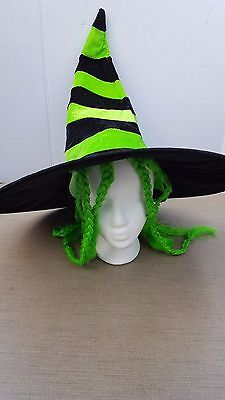Halloween Witch Hat Black and Green  with Green Hair