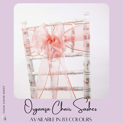 Organza Chair Sashes Bows  Wedding Chair Decor 82 Colours Available