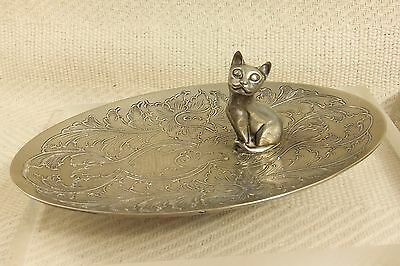 Adorable Vintage Silver Plated Kitten Cat Jewellery Trinket Dish #r231