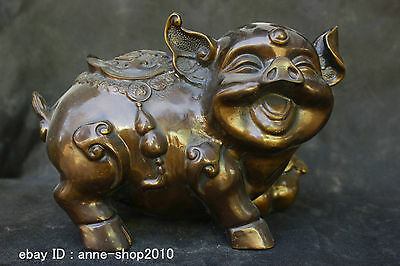 Chinese Folk Old Traditional Culture Brass Bronze statue Lucky Zodiac Pig