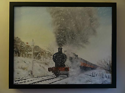 original real oil painting steam train winter scene