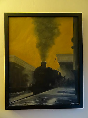 original real oil painting on canvas steam train