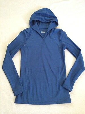 Under Armour Womens S Small Coldgear Blue Long Sleeve Hooded Shirt Fitted