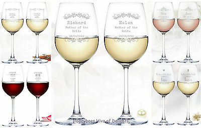 PERSONALISED Engraved Crystal WEDDING Wine Glass Sets Gift Ideas For Parents