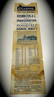 Reading Railway Railroad Inauguration Excursion Flyer Franklin Roosevelt 1933