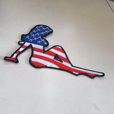 Mud Flap Sexy Girl Embroidered Trucker Biker Jacket Patch USA American Flag Sew