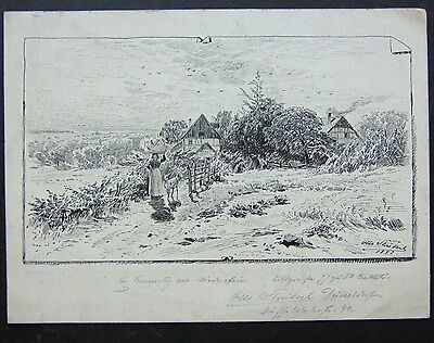 Original Pen & Ink Drawing, Signed and Dated 1882, Rural Scene, Düsseldorf