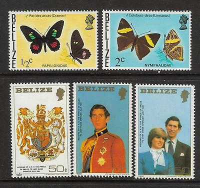 Belize 1974 Butterfies mtd mint and 1981 Royal Wedding set unmtd mint (MNH)