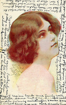 Antique Pretty Girl Greetings Undivided Back  Postcard 1906 Cancel