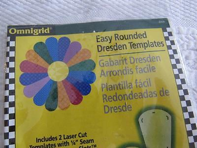 Omnigrid Acrylic EASY ROUNDED Dresden Quilt Templates ORIG PKG Instructions