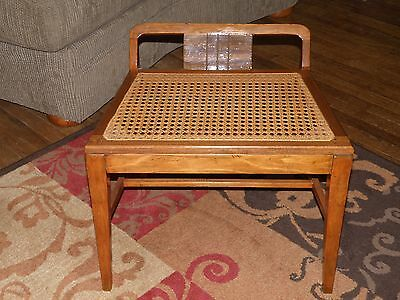"""Vintage Antique Wood and Cane Bench Seat 22""""x17""""x17"""""""