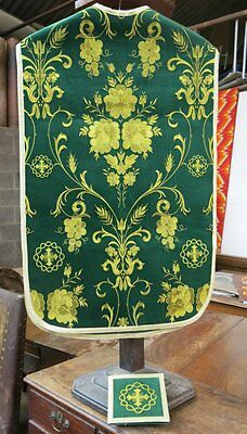 Ecclesiastical Church Emerald and Gold Velvet Chasuble and Burse Vestment Set