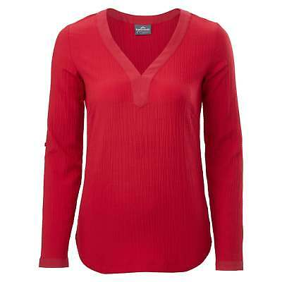 Kathmandu Marala Womens Long Roll Up Sleeve V Neck Top Casual Shirt v2 Red
