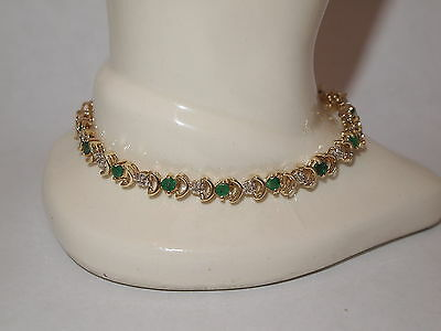 10K Yellow Gold Emerald Bracelet w/ Diamond Accents  7 Inches