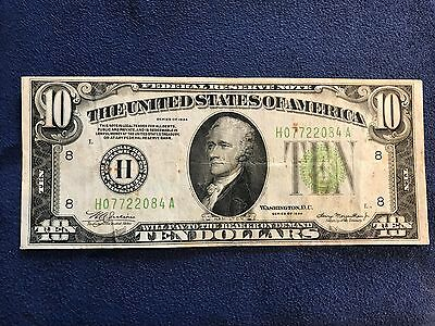 1934 $10 Small Size Federal Reserve Note - Bank of St. Louis - Free Shipping USA