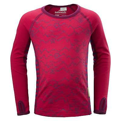 Kathmandu Curlew Girls Kids Long Sleeve Merino Thermal Baselayer Pink Top
