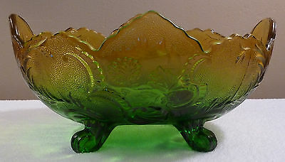 Unused Jeannette LOMBARDI large green gold carnival glass oval console bowl